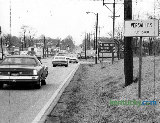 Versailles city limits on Lexington Road (U.S. 60), April, 1976. The population today in almost 9,000. Photo by Chela Richardson | staff