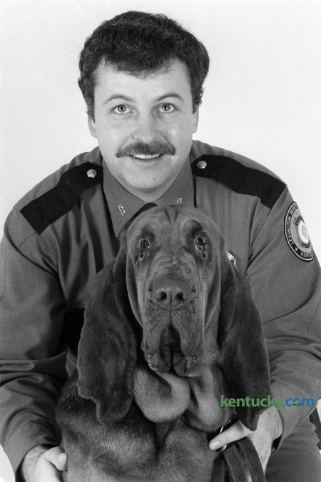 Lexington Police Officer Roy Mardis with his police dog Amanda during photo shoot in Lexington, Ky., in  February 1985. This was soon after he was named Lexington Police Officer of The Year. Mardis was accidentally shot by a state trooper during a manhunt for a murder suspect in a Mercer County cornfield on August 23, 1985. Photo by Charles Bertram | Staff