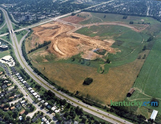Aerial picture of Beaumont Farm during the early stages of development of the property, Oct. 1992. Running from upper left corner of the picture is New Cirlce Road and across the picture from left to right is Harrodsburg Road. Early construction of Beaumont Centre Circle is visable. A Kroger grocery store is now located at the far right side of the picture. Photo by Charles Bertram | staff