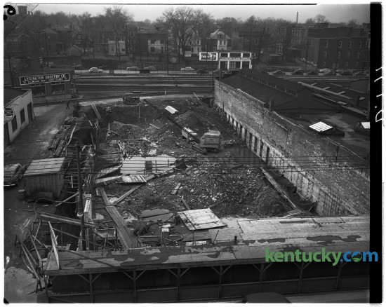 Construction was underway for the new Wolf-Wile Department Store building at 244-250 East Main Street in February 1949. This view is from the Main Street side looking toward Vine Street.  Published in the February 16, 1949. Herald-Leader Archive Photo