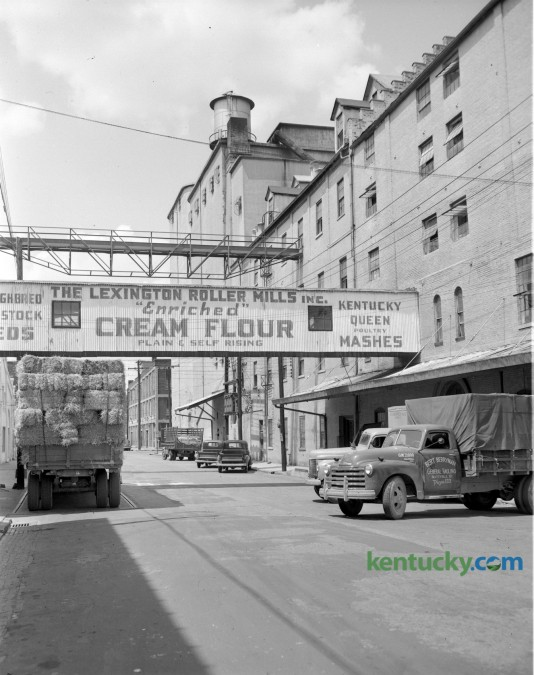 Exterior of Lexington Roller Mills Inc., at 133 South Broadway in August, 1951. The mill was located where Triangle Park is now. The business was acquired by Buhler Mills, Inc. in 1966 and was razed in May of 1968 to make way for urban renewal. Herald-Leader Archive