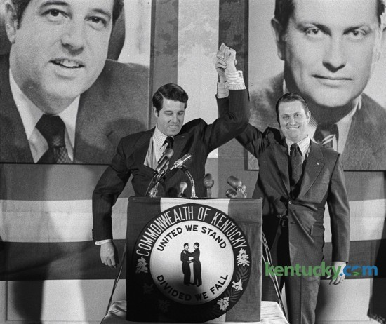 Tom Emberton, left, and Jim Host announced on February 12, 1971 that they would run for governor and lieutenant governor in the Republican primary that May. Host officially announced his candidacy at this rally at the Phoenix Hotel in Lexington. Backed by term-limited Governor Louie B. Nunn, Emberton lost to the Democratic Lieutenant Governor Wendell H. Ford, later a U.S. senator. Ford polled 470,720 votes (50.6 percent) to Emberton's 412,653 (44.3 percent). Herald-Leader Archive Photo
