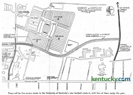 """A diagram, dated Feb. 14, 1973, of new roads planned to be built around the new home of the University of Kentucky football team, Commonwealth Stadium. The stadium was under construction at the time this map ran with a story in the Herald-Leader on Feb. 18, 1973 with the headline, """"Plans underway to get the 'bugs' out of UK's new stadium"""". Nicholasville Road runs from left to right across the bottom, intersecting with Cooper Drive in the lower left corner. The diagram says """"Cooper Drive widened to 5 lanes - to be completed in '73"""". Just above that is University Drive, which was extended in 1973 for the opeining of the stadium. It follows a path along side the stadium to what was plans to make an extension of Rosemont Garden from the other side of Nicholasville Road to connect to Tates Creek Pike. Instead, Alumni Drive was built was running closer to the stadium. The site of the Rosemont Garen extension instead later becase the site of the UK Arboretum, the The State Botanical Garden of Kentucky. Click on the diagram for a closer look. Herald-Leader archives"""