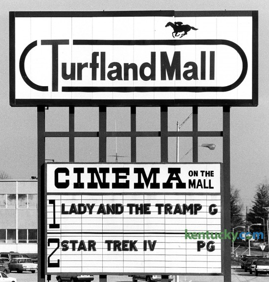 Turfland Mall Cinema sign along Harrodsburg Road in Lexington, January 13, 1986. The mall was Lexington's first enclosed shopping space when it opened in 1967. It closed in 2008. Part of the mall was converted into a Home Depot and a UKHealthCare health center. Photo by Breck Smither