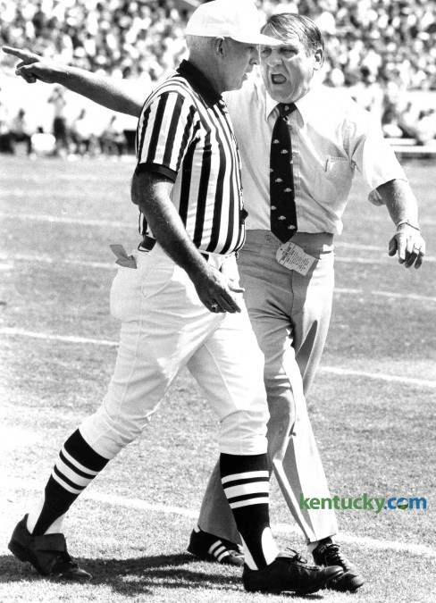 University of Kentucky head coach Jerry Claiborne argued with an official as UK played Indiana in Commonwealth Stadium in Lexington, Ky., Saturday, Sept. 17, 1983. Claiborne, who took over for Fran Curci in 1981, led the Kentucky program for eight years, ending with an overall record of 41Ð46Ð3. Claiborne died Sept. 24, 2000. Photo by Charles Bertram | Staff