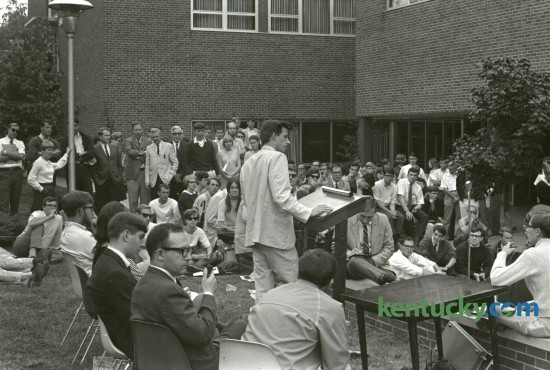 Alan McSurely, a Pike County Civil Rights worker who was arrested on charges of sedition discussed his position before students at University of Kentucky, outside the Student Center in September 1967. Published in the Lexington Herald September 13, 1967. Herald-Leader Archive Photo