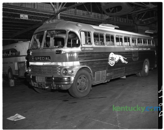 A 1947 model Greyhound bus was photographed in June 1949 at the Southeastern Greyhound station at 219 East Short Street. Unpublished. Herald-Leader Archive Photo