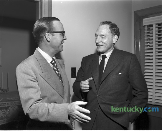 A.B. Guthrie and Robert Penn Warren at the University of Kentucky where they spoke at the writers series program in October 1950. Guthrie was a novelist, screenwriter, historian, and literary historian who won the Pulitzer Prize for fiction in 1950 for his novel The Way West. He also worked for 22 years as a reporter and editor at the Lexington Leader. Warren was a poet, novelist, and literary critic and also won the Pulitzer Prize for his novel All the King's Men in 1946 and the Pulitzer Prize for Poetry in 1958 and 1979. He was born in Guthrie, Ky. Published in the Lexington Leader October 19, 1950. Herald-Leader Archive Photo