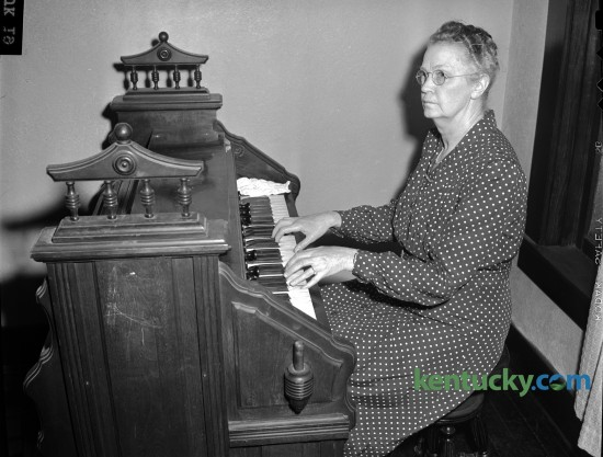 Mayme Cogar, the organist at the Midway Baptist Church was recognized for her 50 years of service in March of 1946. Published in the Herald-Leader March 24, 1946. Herald-Leader Archive Photo