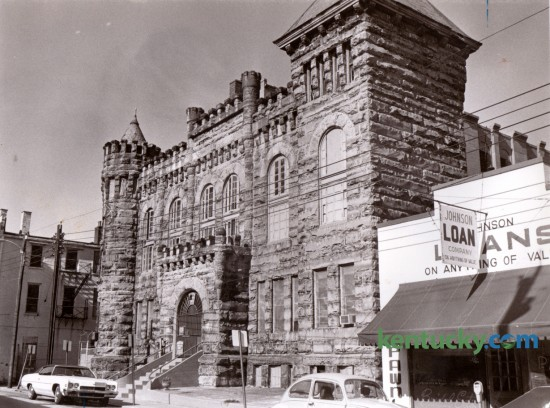 The old Fayette County Jail at 113 East Short Street in Lexington in the fall of 1976, after it's closing. This jail, built of cut stone from Rowan County,  was completed for $40,000 in 1891 and received its first prisoners on July 21, 1891. It was closed in 1976 when a new Fayette County Detention Center was completed on what was then Walnut Street and it was demolished in November 1977. GenTel purchased the property and used it as an employee parking lot. Photo by David Perry | Staff