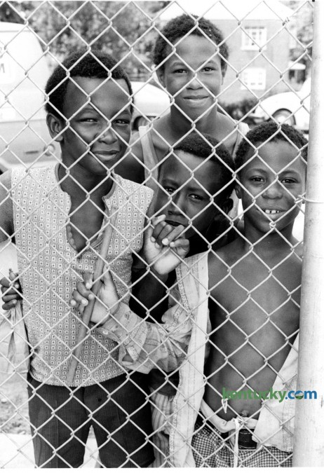 As the new Douglass Park swimming pool was being dedicated on Wednesday July 15, 1977, Gary Combs, 9, Darryl Clark, 8, David Clark, 10, and Charles Combs, 12, waited outside the pool fence. The pool was built with funds made available through the Community Development Block Grant Fund. The new facility offered an aquatic program for neighborhood youth. Frederick Douglass Park was opened in 1916 when a prominent African-American grocer sold the 25 acre site to the city of Lexington for the purpose of establishing the first African-American park in the Bluegrass. In its early history, it staged multiple uses for the black community. Yesterday the city announced plans for the park's centennial celebration. Photo by Christy Porter | Staff