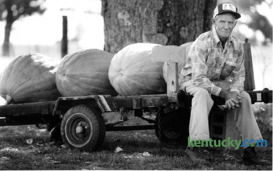Joe Kines, at age 70, was selling pumpkins from his yard on Keene Road in southern Fayette County on September 25, 1987. Kines grew pumpkins in a 4 acre field behind his  home, with some reaching up to 200 pounds in size. Photo by Jocelyn Williams | Staff