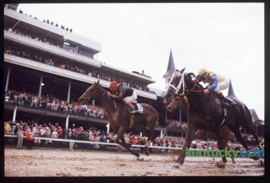 Personal Ensign, on the outside, with Randy Romero up, caught Kentucky Derby winner Winning Colors and Gary Stevens at the wire to win the 1988 Longines Distaff at Churchill Downs, November 5, 1988. Personal Ensign appeared to be hopelessly beaten at the top of the stretch but managed to run down Winning Colors and win by a head. This race is often is often referred to as the most exciting finish in Breeders' Cup history. This was the first year the Breeders' Cup was held in Kentucky. Photo by Ron Garrison | Staff