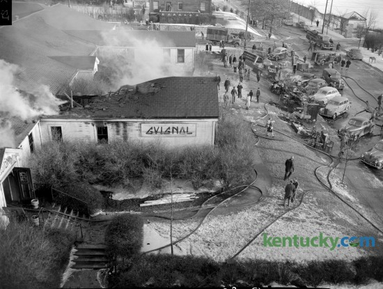 A bird's eye view of the Guignol Theatre fire on Euclid Avenue in 1947. This was the first Guignol Theatre which was built in 1927 and located at the northwest corner of Euclid Avenue and South Martin Luther King Blvd. Three years later, the Guignol reopened in the University of Kentucky's Fine Arts Building  Published in the Lexington Herald February 11, 1947. Herald-Leader Archive Photo