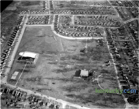 Aerial view of Castlewood Park  and surrounding area in February 1951. The 32.4-acre park is one of the city's oldest parks. The city of Lexington purchased  the Loudoun House, and the grounds in the 1920's and converted it into Castlewood Park and Community Center. The Loudoun House, which still stands in the park, lower right, was constructed as a residence for Francis Key Hunt and Julia Warfield Hunt in 1852. The Loudoun House is now owned by the city of Lexington and has been the Lexington Art League's administrative and curatorial home since 1984. Published in the Lexington Leader February 24, 1951. Herald-Leader Archive Photo