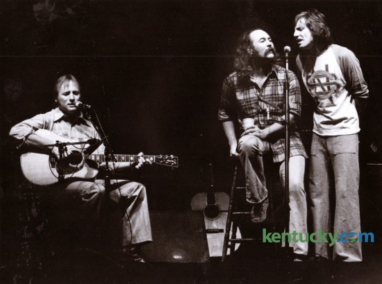 Crosby, Stills and Nash, featuring, from left, Stephen Stills, David Crosby and Graham Nash played Rupp Arena in Lexington on Sunday November 6, 1977. Photo by Ron Garrison | Staff