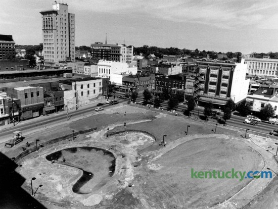 What would become downtown Lexington's Phoenix Park shown under construction in September of 1984. This view taken from Wallace Wilkinson's Park Plaza apartments. Phoenix Park was built on what was once the location of the Phoenix Hotel which was demolished in 1981. Photo by Frank Anderson | Staff