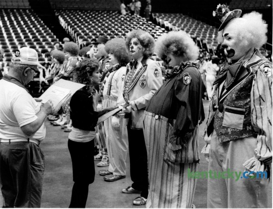 Dozens of clowns attending the Southeastern Shriners Association meeting in Lexington participated in the clown competition in Rupp Arena on August 8, 1988. Photo by Frank Anderson | Staff