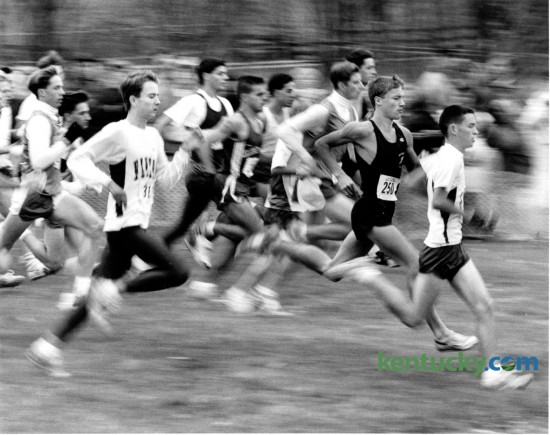 Runners take off at the beginning of the boys' Class 2A race at the Boys' State Cross Country Meet at the Kentucky Horse Park November 7, 1992. The state KHSAA Cross Country meet starts Saturday morning at the Horse Park.  Photo by Tom Marks | Staff
