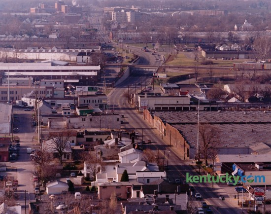 Aerial view of South Broadway, looking south from Maxwell Street, bottom of photo, toward Saint Joseph Hospital, top left, January 6, 1993. The view also includes several tobacco warehouses on the west side of the street, now the site of The Lex Apartments. Photo by Ron Garrison | Staff