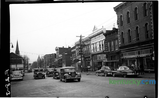 Downtown Cynthiana, January, 1951, looking down Main Street, opposite the courthouse. Published in the Herald-Leader January 7, 1951. Herald-Leader Archive Photo