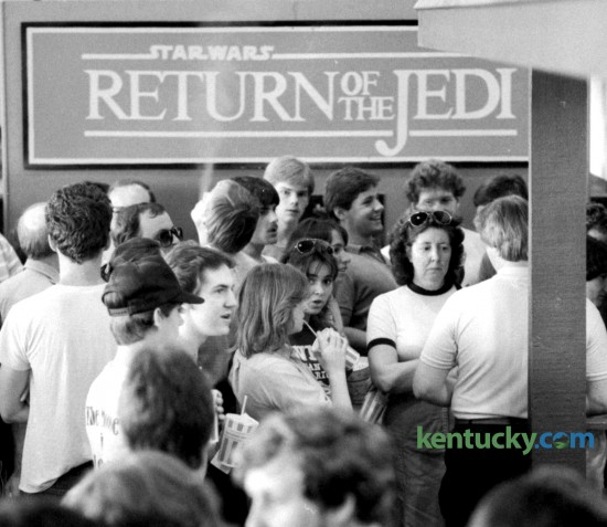 """Six hundred and fifty-eight moviegoers attended a midnight showing of """"Star Wars: Episode VI - Return of the Jedi"""" May 25, 1983 at the Southpark Cinemas in Lexington. Twentieth Century-Fox gave permission for the 950 theaters around the country that had booked the film to begin showings of the film as soon as it was May 25 (the anniversary of the release of the first Star Wars film). In Lexington, the calls to Southpark Cinemas began coming early, and by mid- afternoon people had shown up at the box office asking to purchase tickets. Theaters charged higher prices -- $4.50 in Lexington -- for the long-awaited sequel. By 11 p.m. the lobby was half-full of people wanting to get a good seat. The movie started at 12:01 a.m. to thunderous cheers and applause -- and at its ending there was a standing ovation. Star Wars fans continued to be out in force later in the day, with sell-out or near sell-out crowds for showings at both Southpark and Turfland Mall Cinemas. Southpark Cinemas was in the back of the South Park Shopping Center off Nicholasville Road. It later became a discount theater before closing in 2007. David Perry 