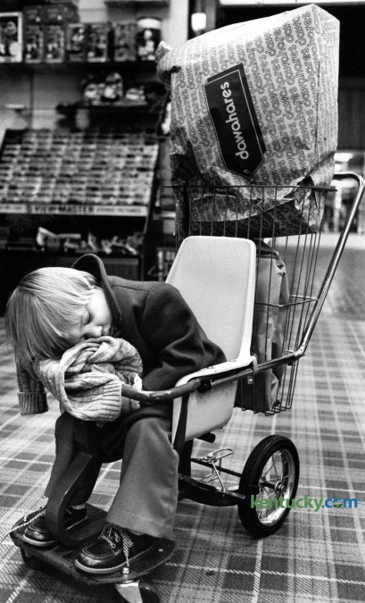 Two-year-old Stephanie Danielle Cole, from McKee, slept while her mother did some Christmas shopping December 1979 in Lexington. Photo by  Christy Porter | Staff