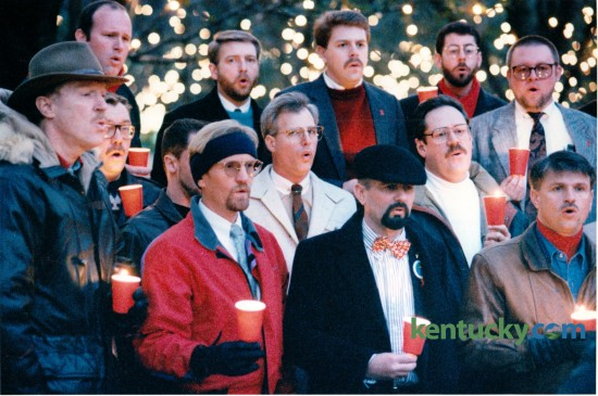 The Lexington Men's Chorus sang at a candlelight vigil in Triangle Park to commemorate the sixth annual World AIDS Day on December 1, 1994. Photo by Janet Worne | Staff