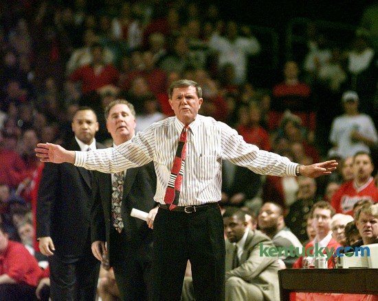 Louisville coach Denny Crum was upset at a call during the second half of No. 16 Louisville's 74-54 loss to No. 3 Kentucky, Dec. 31, 1996 at Freedom Hall in Louisville. The legendary coach of the Cardinals guided Louisville from 1971 to 2001, compiling a 675–295 record, two NCAA championships (1980, 1986) and six Final Fours. During his 30-year career, Crum was 7-13 against Kentucky. Photo by David Perry | staff