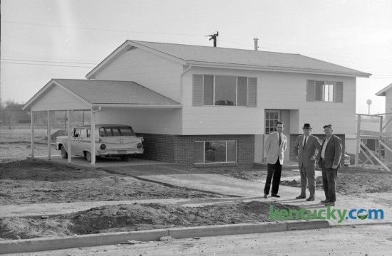 This is one of the new homes which was being constructed in St. Martin's Village, off Georgetown Road,  by Fister-Seeberger Builders in February 1964. Three new home units containing 42 homes were being readied for occupancy within 60 days and the homes ranged in price from $11,950 to $16,800. The 42 new homes were the first to be built in St. Martin's Village since Fister-Seeberger built 206 other homes in the area between 1955-60. Published  in the Lexington Herald February 2, 1964. Herald-Leader Archive Photo