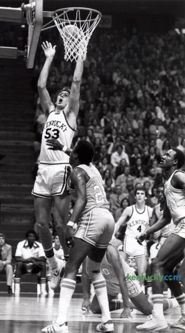 Kentucky's Rick Robey put up a shot against the University of Tennessee in Knoxville, February 25, 1978. UK cinched an NCAA berth with a 68-57 victory. Herald-Leader Archive Photo