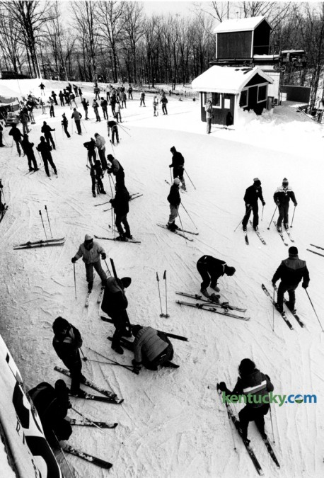 Skiers prepared to take to the slopes at Ski Butler in the General Butler State Resort Park on the first weekend of skiing on January 12, 1985. Located in Carroll County near the county seat of Carrollton, the park once operated as KentuckyÕs first and only ski resort, Ski Butler. It opened in 1982 but was forced to shut down in the mid-'90s because of the difficulty in maintaining snow as well as other issues. Photo by Charles Bertram | Staff