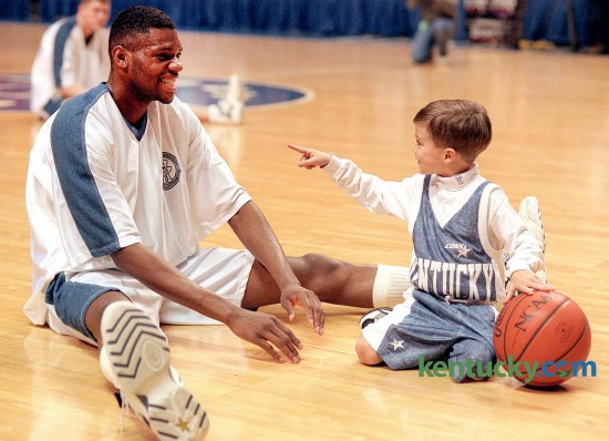 University of Kentucky basketball player Walter McCarty and Ryan Pitino, son of Wildcat coach Rick Pitino, during warm-ups prior to UK playing Alabama February 20, 1996 at Rupp Arena in Lexington. UK won 84-65. Photo by Frank Anderson | staff