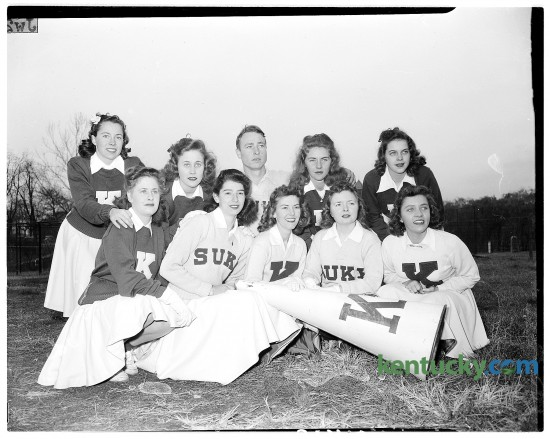 University of Kentucky cheerleaders, November 1944. Published Nov. 19, 1944 in the Herald-Leader. Herald-Leader archive photo