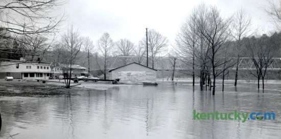 The Kentucky River covered Clays Ferry Beach and threatened the Circle H Restaurant and a motel after heavy rains across central and eastern Kentucky in late February 1962. Photo published in the Lexington Leader on Feb. 27, 1962. Lexington Herald-Leader Archive Photo