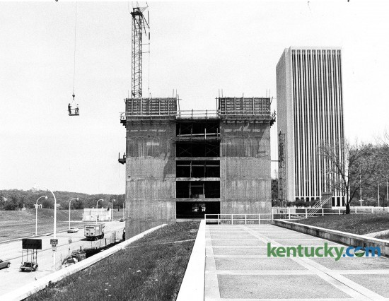 Construction continued on the Capital Plaza Hotel in Frankfort on May 11, 1983. The 189-room hotel opened on Dec. 30, 1983, and became one of the first places in Central Kentucky to serve alcohol on Sunday. The $13 million hotel was built by a company headed by Lexington developer Wallace Wilkinson, who was elected Kentucky's governor in 1987. Photo by John C. Wyatt | Staff