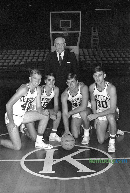 University of Kentucky basketball coach Adolph Rupp posed with his returning starters in October 1965 prior to the 1965-66 season. From left are,  Larry Conley, Louie Dampier, Pat Riley and Tommy Kron. This team would be known as Rupp's Runts and would lose the NCAA Championship game 72-65, to Texas Western (now UTEP). It was announced that Conley would be be honored at the 2016 Southeastern Conference Tournament as UK's SEC Basketball Legend. Herald-Leader Archive Photo