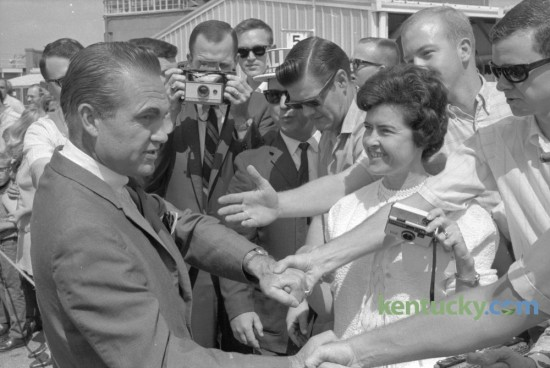 Independent presidential candidate George Wallace was greeted by supporters after he arrived at Blue Grass Field in Lexington on his way to deliver a speech at he University of Kentucky in September 1968. Published in the Lexington Herald September 15, 1968. Herald-Leader Archive Photo