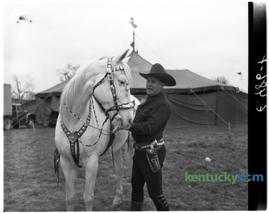 Ken Maynard and his horse Tarzan posed for a photo outside the bigtop of Biller Brothers Circus in April 1950. It was the first circus of the season to come to Lexington in 1950 and set up out off Newtown Pike. Published in the Lexington Leader April 15, 1950. Herald-Leader Archive Photo