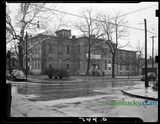 The old Dudley School property, photographed on January 22, 1941, on the northeast corner of Mill and Maxwell Streets, had been sold at public auction by the city board of education.  The structure was built in 1881.   Published in the Lexington Herald January 23, 1941. Herald-Leader Archive Photo