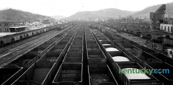 Several hundred empty Louisville and Nashville (L & N) Railroad cars that would normally be hauling coal from Eastern Kentucky, sat were idle in the yards at Ravenna in Estill County on March 24, 1955, due to a strike against the railroad by non-operating employees (telegraphers, tracke men and clerks). The 57-day strike, one of the longest walkouts in rail history, paralyzed 14 southern states, stalling transportation and freight and shutting down coal mines. The strike stemmed from the L & N balking at accepting a health plan negotiated by the nonoperating worker unions with other railroads, calling for joint employer contributions. The L & N protested both a the cost, a $3.40 monthly payment an employee and at the fact that all employees would be compelled to join and contribute an equal amount. The walkout was marked by shootings of strikers and nonstrikers, and by train and bridge explosions. One striker was killed and each side blamed the other for the violence. Published in the Lexington Heald March 25, 1955. Herald-Leader Archive Photo