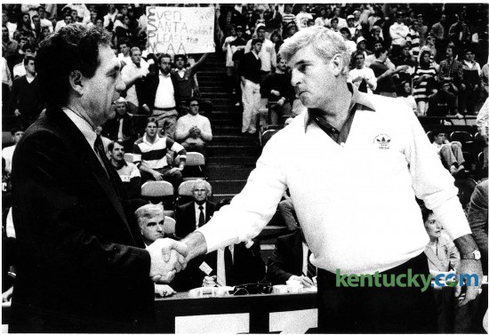 University of Kentucky coach Eddie Sutton, left, shook hands with Indiana University coach Bobby Knight prior to their Dec. 20, 1988 game at Rupp Arena in Lexington. The Hoosiers would win the game, 75-52, holding only one UK player in double-figures (22 points from Chris Mills). During his 29 years at Indiana, Knight had a 15-18 record against UK, including a 1-2 mark against the Cats in the NCAA Tournament. For the second time in five years, Kentucky and Indiana — the long-running border rivalry that is no more — will play on college basketball's biggest stage, the NCAA Tournament. The two schools played each other annually from 1969-70 until 2011-12. Photo by Michael Malone | staff