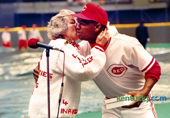 Cincinnati Reds owner Marge Schott gave a kiss and a World Series ring to Jose Rijo before the 1991 season opening game against the Houston Astros at Riverfront Stadium, April 8, 1991. Rio, who was the World Series MVP, and all the players on the 1990 team received rings before the game. Photo by Charles Bertram   Staff