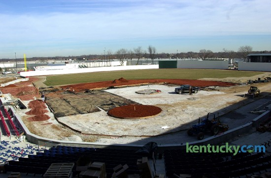 The Lexington Legends baseball field in the process of being sodded, March 1, 2001. The stadium, located next to Northland Shopping Center, was named Applebee's Park for the team's first nine seasons. Since 2011, it has been called Whitaker Bank Ballpark. The Legends are a single-A minor league baseball team that started as an affiliate of the Houston Astros. They are now part of the Kansas City Royals farm system. April 7 is opening night for the 2016 season. Photo by Janet Worne | staff