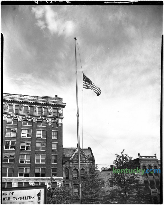 The flag atop the Fayette County courthouse April 12, 1945 flew at half-mast in honor of the death of President Franklin D. Roosevelt. Herald-Leader archive photo