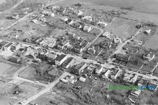 The Scott County town of Stamping Ground lay nearly leveled the day after being hit by a tornado on April 3, 1974. April 3-4 mark the 42nd anniversary of a super tornado outbreak that saw 148 twisters touch down in 13 states. By the time it was over 330 people were dead and 5,484 were injured in a damage path covering more than 2,500 miles. Fortunately no one was killed in Stamping Ground. Photo by Ron Garrison   Staff