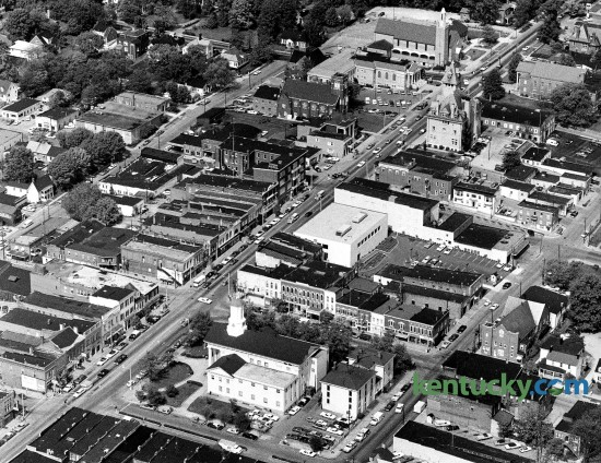 An aerial view of downtown Richmond, June 1977. Main Street runs from the lower left of the picture, up to the upper right. At the bottom is the Madison County Courthouse. Photo by John C. Wyatt | staff