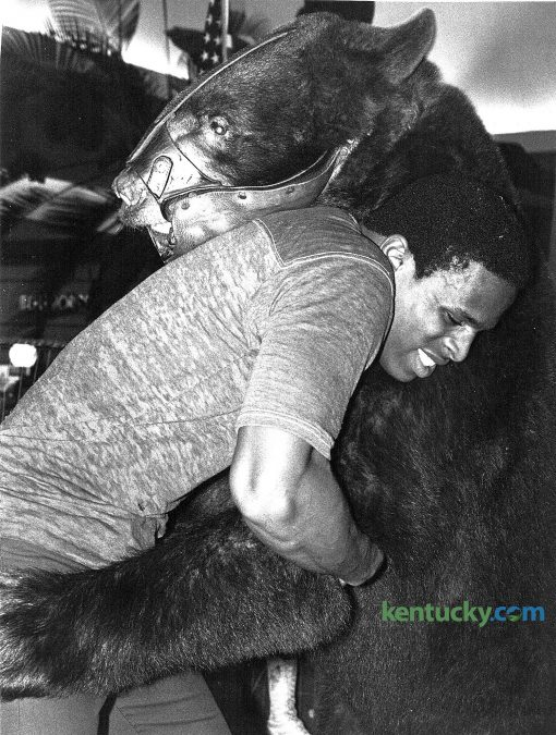 "University of Kentucky wrestler Fred Ringo accepted the challenge and took on Victor the traveling wrestling bear at Fayette Mall on Wednesday September 24, 1980, as part of the mall's ninth anniversary celebration. Victor stood 6'9"" tall and weighed over 650 pounds. Anyone over the age of 18 could wrestle Victor. Photo by Ron Garrison 