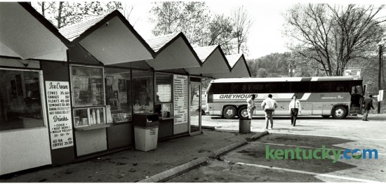 A Greyhound bus on a run from Paintsville to Mt. Sterling made an unscheduled rest room stop at the Frosty Freeze drive-in in Frenchburg, in Menifee County on November 2, 1983. Photo by Charles Bertram | Staff