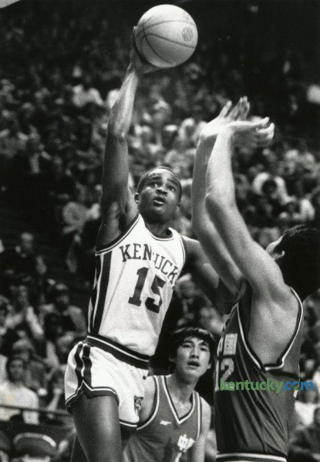 University of Kentucky basketball player Ed Davender, put up a shot in an exhibition game November 11, 1984 in Rupp Arena. Considered one of the most under-appreciated guards in UK basketball history, died late Thursday night after suffering a massive heart attack on Tuesday. He was 49. Photo by David Perry | Staff